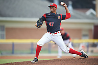 Batavia Muckdogs starting pitcher Manuel Rodriguez (47) delivers a pitch during a game against the Auburn Doubledays on July 6, 2017 at Dwyer Stadium in Batavia, New York.  Auburn defeated Batavia 4-3.  (Mike Janes/Four Seam Images)