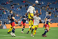 FOXBOROUGH, MA - MAY 16: Bradley Wright-Phillips #99 Columbus SC heads the ball away from the Columbus SC goal during a game between Columbus SC and New England Revolution at Gillette Stadium on May 16, 2021 in Foxborough, Massachusetts.