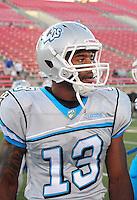 Oct. 8, 2009; Las Vegas, NV, USA; Las Vegas Locomotives wide receiver (13) Tab Perry against the California Redwoods during the inaugural United Football League game at Sam Boyd Stadium. Mandatory Credit: Mark J. Rebilas-