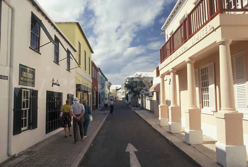 Bermuda, St. George's Parish, Shops along Water Street in St George in Bermuda.
