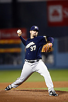 Jeff Suppan of the Milwaukee Brewers during a game from the 2007 season at Dodger Stadium in Los Angeles, California. (Larry Goren/Four Seam Images)