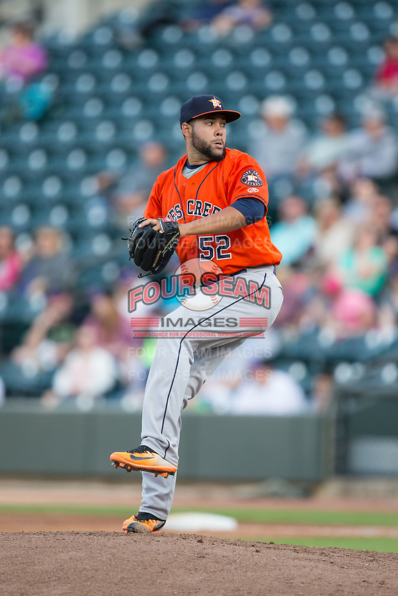 Buies Creek Astros starting pitcher Yoanys Quiala (52) in action against the Winston-Salem Dash at BB&T Ballpark on April 15, 2017 in Winston-Salem, North Carolina.  The Astros defeated the Dash 13-6.  (Brian Westerholt/Four Seam Images)