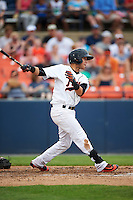 Frederick Keys shortstop Erick Salcedo (19) at bat during a game against the Carolina Mudcats on June 4, 2016 at Nymeo Field at Harry Grove Stadium in Frederick, Maryland.  Frederick defeated Carolina 5-4 in eleven innings.  (Mike Janes/Four Seam Images)