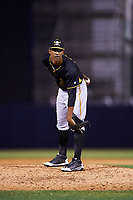 Bradenton Marauders relief pitcher Yunior Montero (45) looks in for the sign during a game against the Tampa Yankees on April 15, 2017 at George M. Steinbrenner Field in Tampa, Florida.  Tampa defeated Bradenton 3-2.  (Mike Janes/Four Seam Images)