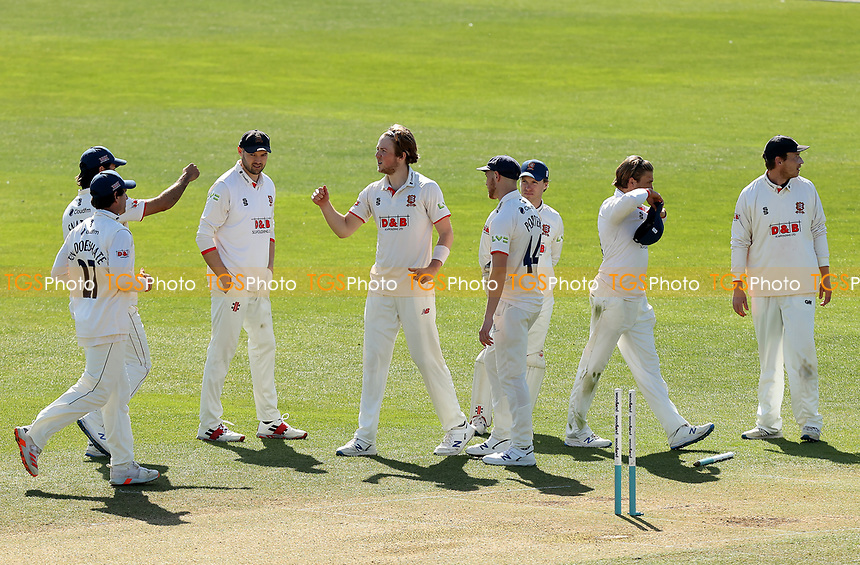Ben Allison of Essex is congratulated on taking the wicket of Jordan Cox during Essex CCC vs Kent CCC, Friendly Match Cricket at The Cloudfm County Ground on 29th March 2021