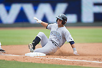 Austin Bailey (4) of the Wilmington Blue Rocks slides into third base after hitting a triple against the Winston-Salem Dash at BB&T Ballpark on June 5, 2016 in Winston-Salem, North Carolina.  The Blue Rocks defeated the Dash 6-2 in the completion of the game suspended on June 4, 2016.   (Brian Westerholt/Four Seam Images)