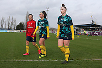 Arsenal players complete their warm up during West Ham United Women vs Arsenal Women, Women's FA Cup Football at Rush Green Stadium on 26th January 2020