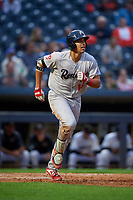 Reading Fightin Phils Darick Hall (13) hits a home run during an Eastern League game against the Akron RubberDucks on June 4, 2019 at Canal Park in Akron, Ohio.  Akron defeated Reading 8-5.  (Mike Janes/Four Seam Images)