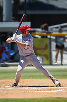 Brandt Stallings (25) of the Greeneville Reds at bat against the Burlington Royals at Burlington Athletic Stadium on July 8, 2018 in Burlington, North Carolina. The Royals defeated the Reds 4-2.  (Brian Westerholt/Four Seam Images)