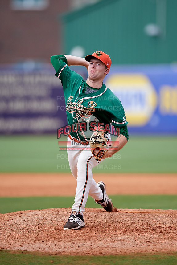 Greensboro Grasshoppers relief pitcher Travis Neubeck (30) delivers a pitch during a game against the Lakewood BlueClaws on June 10, 2018 at First National Bank Field in Greensboro, North Carolina.  Lakewood defeated Greensboro 2-0.  (Mike Janes/Four Seam Images)