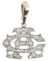 BNPS.co.uk (01202 558833)<br /> Pic: SheldonCarpenter/Witherell'sInc/BNPS<br /> <br /> Pictured: Al Capone's 14k Diamond monogram pendant.<br /> <br /> An incredible treasure trove of Al Capone heirlooms have sold at auction for a whopping £2.3m. ($3.1m)<br /> <br /> The star lot was the notorious American gangster's favourite gun - a 1911 Colt semi-automatic pistol, which was expected to fetch £110,000 but sold for an incredible £764,000. ($1.04m)<br /> <br /> The remarkable collection, sold by his granddaughters, included personalised jewellery, photographs and furniture and a letter written to his only child Sonny from Alcatraz Prison, which showed a tender side to the ruthless crime boss.