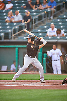 Jason Vosler (22) of the Sacramento River Cats at bat against the Salt Lake Bees at Smith's Ballpark on August 16, 2021 in Salt Lake City, Utah. The Bees defeated the River Cats 6-0. (Stephen Smith/Four Seam Images)
