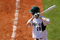 Outfielder Jeff Kinley #28 of the Michigan State Spartans during the Big East-Big Ten Challenge vs. the Seton Hall Pirates at Al Lang Field in St. Petersburg, Florida;  February 19, 2011.  Michigan State defeated Seton Hall 5-4.  Photo By Mike Janes/Four Seam Images