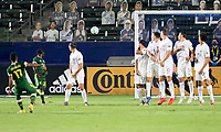 CARSON, CA - OCTOBER 07: Jeremy Ebobisse #17 of the Portland Timbers scores a goal off of a freekick during a game between Portland Timbers and Los Angeles Galaxy at Dignity Heath Sports Park on October 07, 2020 in Carson, California.
