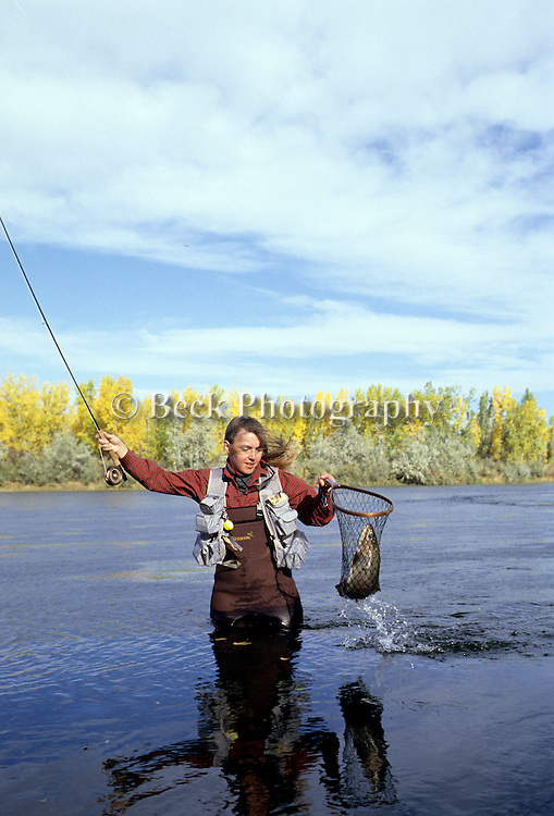 Landing a rainbow trout