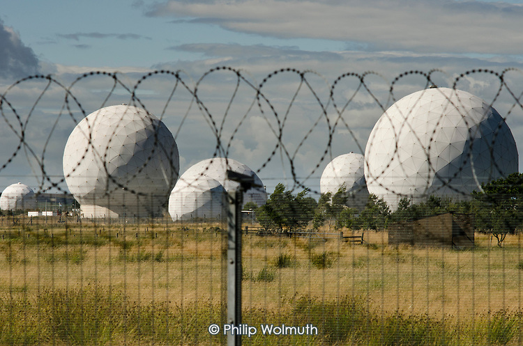 Menwith Hill RAF base in North Yorkshire is part of a global network used to spy on all forms of international telecommunications.  It is run by the US National Security Agency (NSA) and is the largest secret intelligence-gathering system outside the USA.