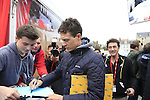 Defending Champion Niki Terpstra (NED) Etixx-Quick Step signs autographs at the Team Presentations in Compiegne before the 2015 Paris-Roubaix cycle race held over the cobbled roads of Northern France. 11th April 2015.<br /> Photo: Eoin Clarke www.newsfile.ie