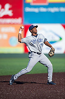 Tri-City Dust Devils shortstop Xavier Edwards (2) throws to first base during a Northwest League game against the Everett AquaSox at Everett Memorial Stadium on September 3, 2018 in Everett, Washington. The Everett AquaSox defeated the Tri-City Dust Devils by a score of 8-3. (Zachary Lucy/Four Seam Images)