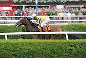 Khurkuri wins the third race at Saratoga on Aug. 26, 2009 for jockey Rajiv Maragh and trainer Christophe Clement.