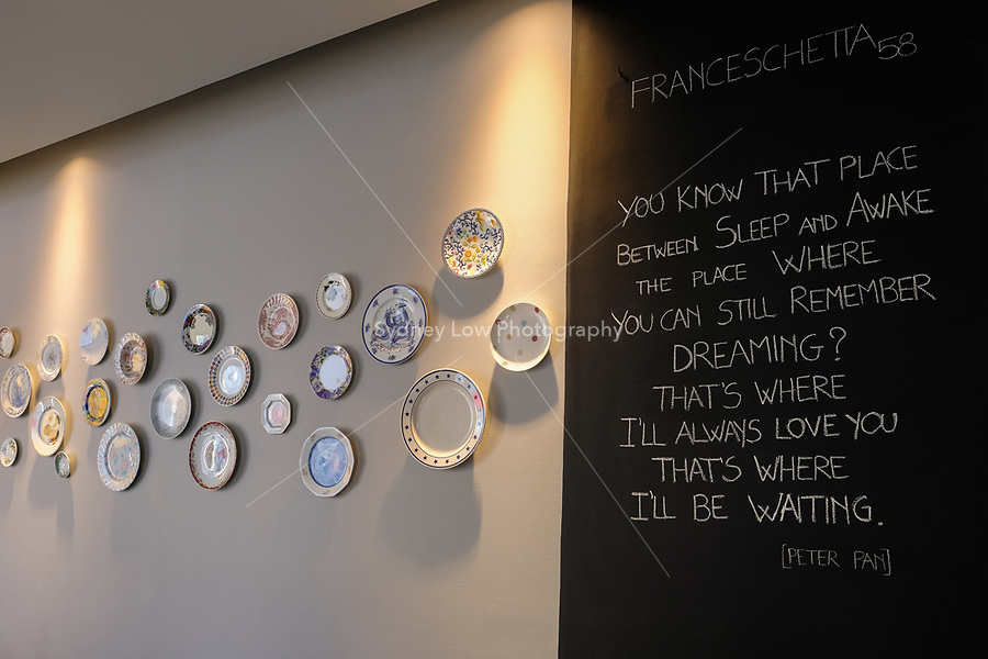A view of the wall at Franceschetta 58, Modena. Franceschetta 58 is the second restaurant of Massimo Bottura, whose restaurant Osteria Francescana is the No 1 ranked restaurant in the 2016 The World's 50 Best Restaurants, and is rated with three stars by the Michelin Guide. Photo Sydney Low