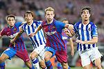 FC Barcelona's Eric Garcia (l) and Frenkie De Jong (c-r) and Real Sociedad's Robin Le Normand (c-) and Aritz Elustondo during La Liga match. August 15, 2021. (ALTERPHOTOS/Acero)