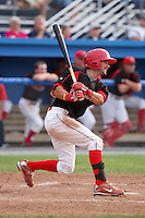 Batavia Muckdogs outfielder Adam Melker (15) during a game vs. the Jamestown Jammers at Dwyer Stadium in Batavia, New York July 18, 2010.   Batavia defeated Jamestown 6-1.  Photo By Mike Janes/Four Seam Images