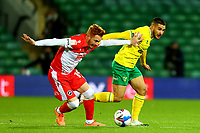 3rd November 2020; Carrow Road, Norwich, Norfolk, England, English Football League Championship Football, Norwich versus Millwall; Emi Buendia of Norwich City takes on Ryan Woods of Millwall