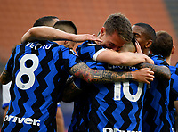 Inter Milan's Andrea Pinamonti, center, celebrates with his teammates after scoring during the Italian Serie A football match between Inter Milan and Sampdoria at Milan's Giuseppe Meazza stadium, May 8, 2021.<br /> UPDATE IMAGES PRESS/Isabella Bonotto