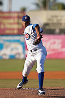 April 26 2010: Alberto Cabrera  (28) of the Daytona Beach Cubs during a game vs. the Lakeland Flying Tigers at Jackie Robinson Ballpark in Daytona Beach, Florida. Daytona, the Florida State League High-A affiliate of the Chicago Cubs, won the game against Lakeland, affiliate of the Detroit Tigers, by the score of 3-1  Photo By Scott Jontes/Four Seam Images