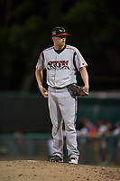 Lake Elsinore Storm relief pitcher Blake Rogers (18) waits to be relieved during a California League game against the Modesto Nuts at John Thurman Field on May 11, 2018 in Modesto, California. Modesto defeated Lake Elsinore 3-1. (Zachary Lucy/Four Seam Images)