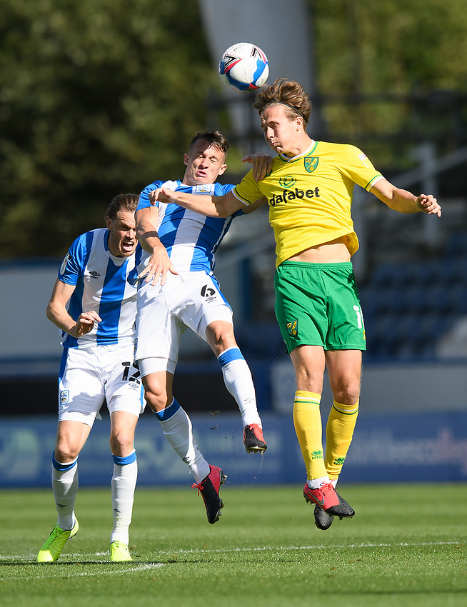Huddersfield Town's Jonathan Hogg battles with Norwich City's Kieran Dowell<br /> <br /> Photographer Dave Howarth/CameraSport<br /> <br /> The EFL Sky Bet Championship - Huddersfield Town v Norwich - Saturday September 12th 2020 - The John Smith's Stadium - Huddersfield<br /> <br /> World Copyright © 2020 CameraSport. All rights reserved. 43 Linden Ave. Countesthorpe. Leicester. England. LE8 5PG - Tel: +44 (0) 116 277 4147 - admin@camerasport.com - www.camerasport.com