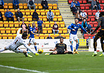 St Johnstone v Motherwell…08.08.21  McDiarmid Park<br />Michael O'Halloran watches as his shot is saved by Liam Kelly<br />Picture by Graeme Hart.<br />Copyright Perthshire Picture Agency<br />Tel: 01738 623350  Mobile: 07990 594431