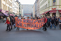 """Demonstration gegen steigende Mieten und Zwangsraeumungen in Berlin.<br />Am Samstag den 29. Maerz 2014 demonstrierten ueber 500 Menschen in Berlin-Kreuzberg mit einer sog. """"Laerm-Demo"""" gegen steigende Mieten und Zwangsraeumungen. Es war die 25. """"Laerm-Demo"""".<br />Die Demonstration wurde zum ersten Mal von starken Polizeikraeften begleitet; dazu waren 3 Einsatzhundertschaften der Berliner Polizei und eine Hundertschaft einer speziellen Festnahmeeinheit aus Sachsen-Anhalt im Einsatz. Die Festnahmeeinheit ist fuer ihr hartes Eingreifen bekannt und war zu Uebungszwecken fuer einen Einsatz am 1. Mai nach Berlin gekommen. Bereits im Vorfeld der Demonstration kam es zu Platzverweisen, Beschlagnahmungen von Flugblaettern, und der Festnahme eines Flugblattverteilers.<br />Waehrend der Abschlusskundgebung der Demonstration stuermte die Polizei eine nahe gelegene Ladenwohnung, vor der junge Leute zu lauter Musik tanzten. Dabei wurde Mobiliar in der Wohnung von vermummten Polizeibeamten zerstoert und ein Teil der Musikanlage beschlagnahmt. Vor der Wohnung griffen Beamte der Spezialeinheit aus Sachsen-Anhalt Journalisten an und versuchten, Kameras zu beschaedigen und sie am arbeiten zu hindern.<br />29.3.2014, Berlin<br />Copyright: Christian-Ditsch.de<br />[Inhaltsveraendernde Manipulation des Fotos nur nach ausdruecklicher Genehmigung des Fotografen. Vereinbarungen ueber Abtretung von Persoenlichkeitsrechten/Model Release der abgebildeten Person/Personen liegen nicht vor. NO MODEL RELEASE! Don't publish without copyright Christian-Ditsch.de, Veroeffentlichung nur mit Fotografennennung, sowie gegen Honorar, MwSt. und Beleg. Konto:, I N G - D i B a, IBAN DE58500105175400192269, BIC INGDDEFFXXX, Kontakt: post@christian-ditsch.de]"""