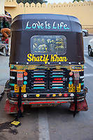 Jaipur, Rajasthan, India.  Decoration on a Local Taxi.