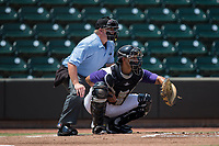 Winston-Salem Dash catcher Seby Zavala (19) sets a target as home plate umpire Matt Bates looks on during the game against the Salem Red Sox at BB&T Ballpark on July 23, 2017 in Winston-Salem, North Carolina.  The Dash defeated the Red Sox 11-10 in 11 innings.  (Brian Westerholt/Four Seam Images)