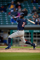 Toledo Mud Hens center fielder JaCoby Jones (21) avoids an inside pitch during a game against the Indianapolis Indians on May 2, 2017 at Victory Field in Indianapolis, Indiana.  Indianapolis defeated Toledo 9-2.  (Mike Janes/Four Seam Images)