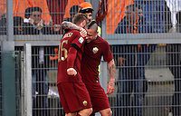 Calcio, Serie A: Lazio vs Roma. Roma, stadio Olimpico, <br /> Roma's Radja Nainggolan, right, celebrates with teammate Daniele De Rossi after scoring during the Italian Serie A football match between Lazio and Rome at Rome's Olympic stadium, 4 December 2016. Roma won 2-0.<br /> UPDATE IMAGES PRESS/Riccardo De Luca