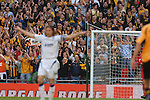 Torquay United 2 Cambridge United 0, 17/05/2009. Wembley Stadium, Conference Play Off Final. Cambridge supporters in front of goalscorer Chris Hargreaves. Torquay United returned to the Football League after two years away following victory at Wembley. Photo by Simon Gill.