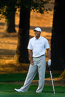 Tiger Woods prepares to hit from the woods during the 2007 Wachovia Championships at Quail Hollow Country Club in Charlotte, NC.