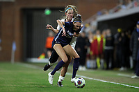 CHAPEL HILL, NC - NOVEMBER 29: Maycee Bell #25 of the University of North Carolina and Tara McKeown #13 of the University of Southern California challenge for the ball during a game between University of Southern California and University of North Carolina at UNC Soccer and Lacrosse Stadium on November 29, 2019 in Chapel Hill, North Carolina.