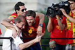 02.07.2012. Arbeloa (l) and Xavi Alonso during Tour of Madrid of the Spanish football team to celebrate their victory in Euro 2012 july 2012.(ALTERPHOTOS/ARNEDO)