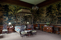 The state bedchamber, known as Bonnie Prince Charlie's bedroom, where the Jacobite prince stayed (uninvited) on his retreat north in 1745. The walls are hung with Brussels tapestries