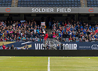CHICAGO, IL - OCTOBER 5: Fans cheer at Soldier Field on October 5, 2019 in Chicago, Illinois.