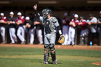 Kennesaw State Owls catcher Drew Davis (16) on defense against the Winthrop Eagles at the Winthrop Ballpark on March 15, 2015 in Rock Hill, South Carolina.  The Eagles defeated the Owls 11-4.  (Brian Westerholt/Four Seam Images)