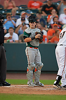 Greensboro Grasshoppers catcher Grant Koch (34) during a South Atlantic League game against the Delmarva Shorebirds on August 21, 2019 at Arthur W. Perdue Stadium in Salisbury, Maryland.  Delmarva defeated Greensboro 1-0.  (Mike Janes/Four Seam Images)