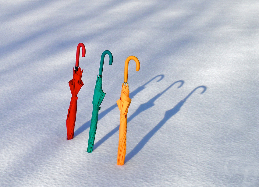 Images from the Book Journey Through Colour and Time. German Winter and color Umbrellas.