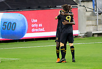 LOS ANGELES, CA - SEPTEMBER 02: Bradley Wright-Phillips #66 of the Los Angeles Football Club scores a goal and celebrates with team mate Diego Rossi #9 during a game between San Jose Earthquakes and Los Angeles FC at Banc of California stadium on September 02, 2020 in Los Angeles, California.
