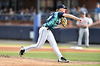Asheville Tourists starting pitcher Shelby Lackey (10) delivers a pitch during a game against the Greenville Drive on Hippie Night at McCormick Field on July 11, 2019 in Asheville, North Carolina. The Drive defeated the Tourists 6-2. (Tony Farlow/Four Seam Images)