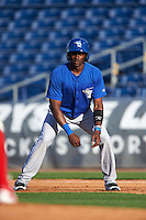 Dunedin Blue Jays center fielder David Harris (4) leads off first during a game against the Clearwater Threshers on April 8, 2016 at Bright House Field in Clearwater, Florida.  Dunedin defeated Clearwater 8-3.  (Mike Janes/Four Seam Images)