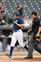Left fielder Ian Strom (40) of the Columbia Fireflies in a game against the Charleston RiverDogs on Monday, August 7, 2017, at Spirit Communications Park in Columbia, South Carolina. Columbia won, 6-4. (Tom Priddy/Four Seam Images)